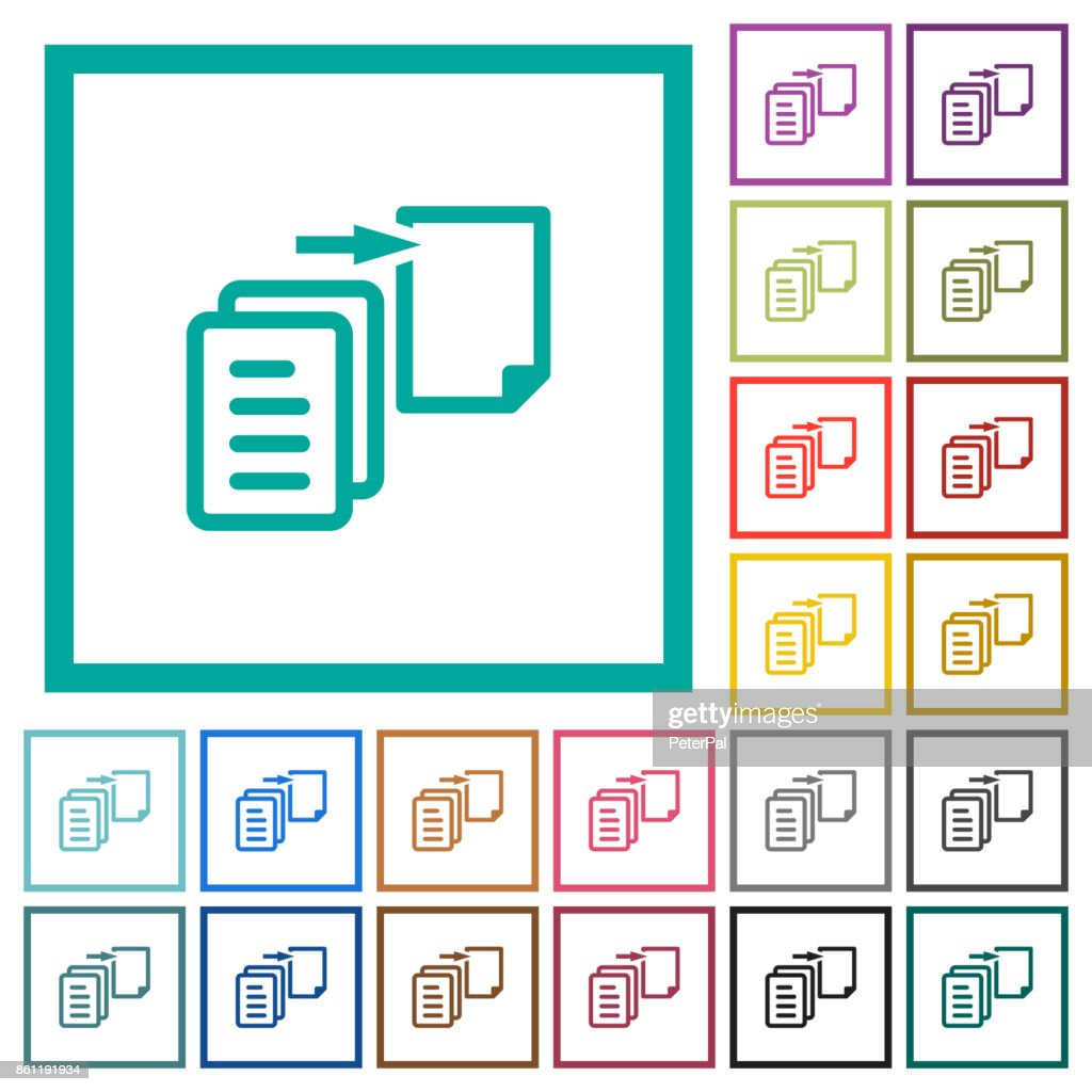 Move file flat color icons with quadrant frames