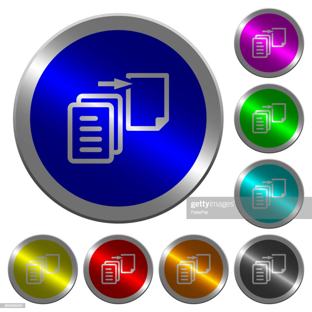 Move file luminous coin-like round color buttons