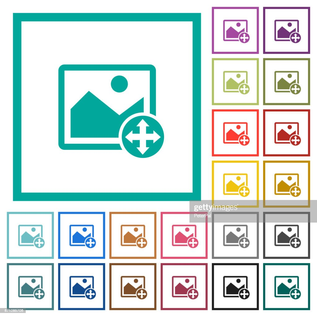 Move image flat color icons with quadrant frames