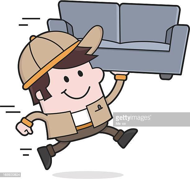 ilustrações, clipart, desenhos animados e ícones de mover serviço/remoção homem carrega um sofá - entregador