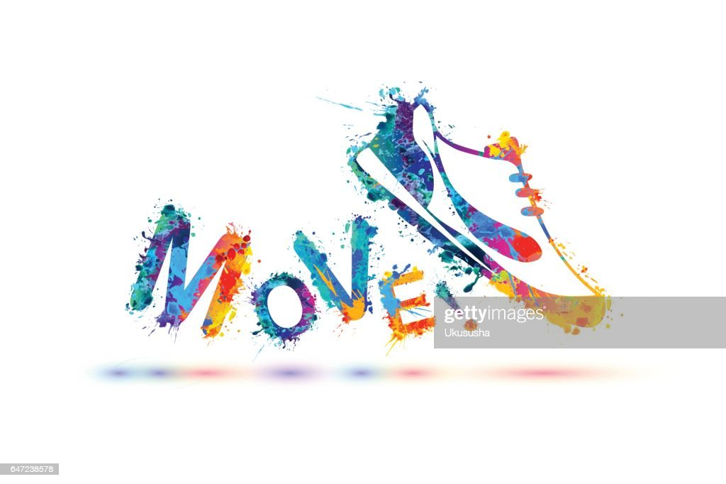 Move! Vector sign. Sneakers.