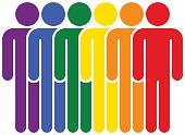 LGBT Movement Rainbow Flag Six Men