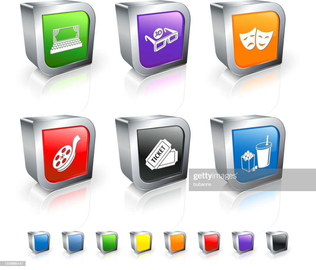 movie and cinema 3D royalty free vector icon set