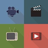 Movie and film icons set. Flat style design