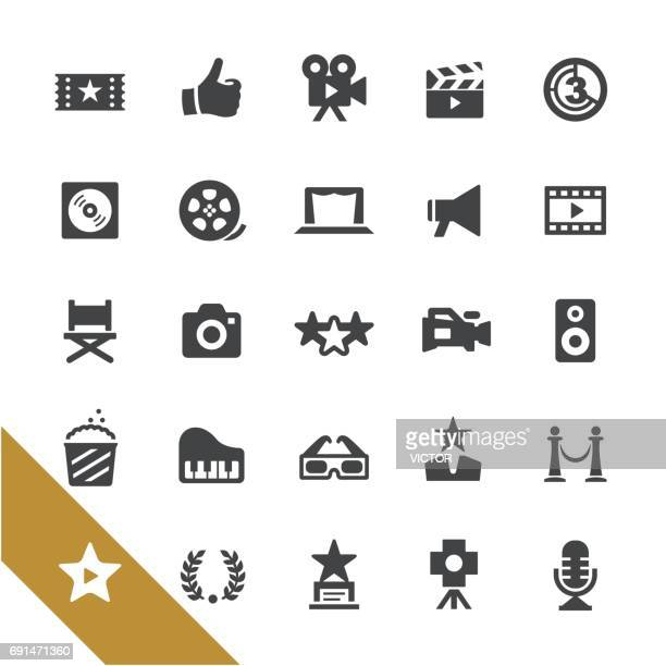 movie and film industry icons - select series - video camera stock illustrations, clip art, cartoons, & icons