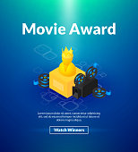 Movie award poster of isometric color design
