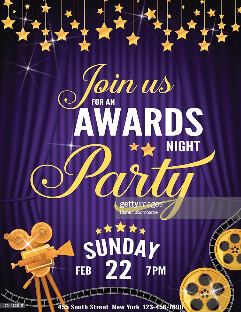 Movie Awards Night Party Invitation Template Vector Art | Getty Images