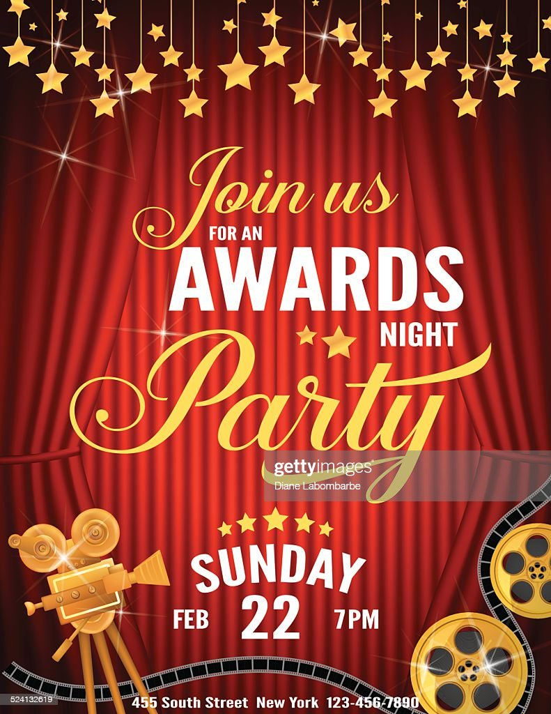 Movie Awards Night Party Invitation Template Vector Art Getty Images