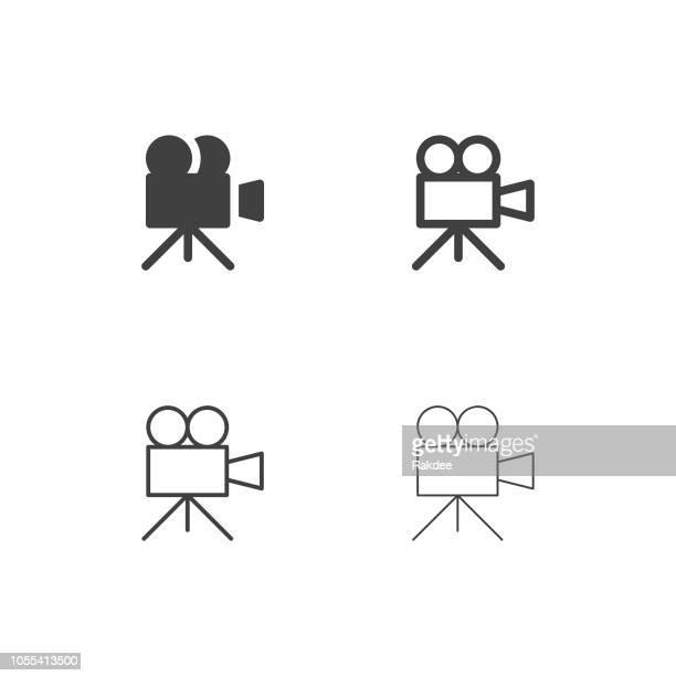 movie camera icons - multi series - film studio stock illustrations