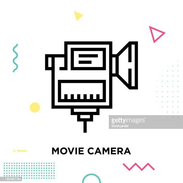 movie camera line icon design editable stroke - webcam media apparaat stock illustrations