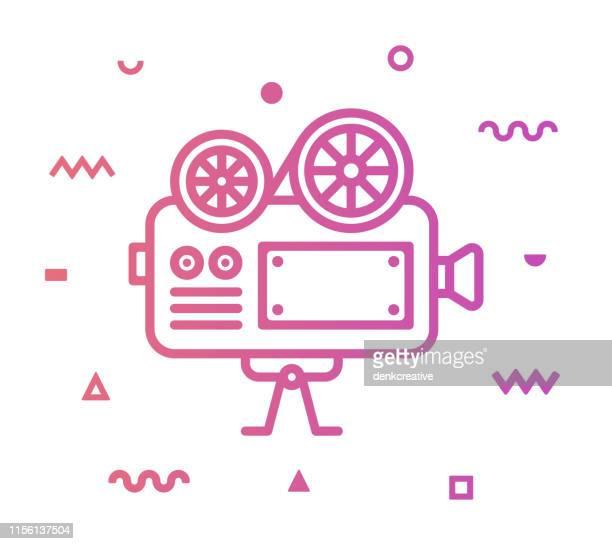 ilustraciones, imágenes clip art, dibujos animados e iconos de stock de diseño de icono de estilo de línea de cámara de película - ocio