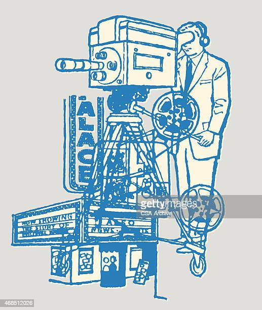 movie camera operator and theater marquee - film crew stock illustrations