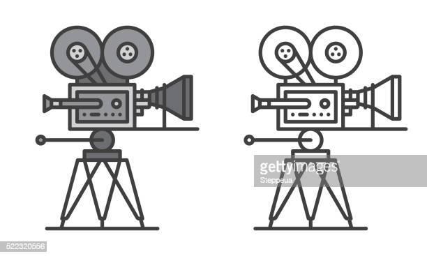 ilustrações de stock, clip art, desenhos animados e ícones de câmara de filmar - maquina fotografica antiga