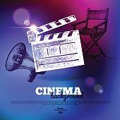 Movie cinema poster. Background with hand drawn sketch illustrat