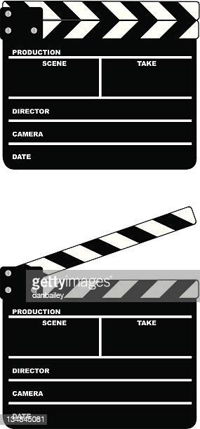 movie clapper board - clapboard stock illustrations, clip art, cartoons, & icons