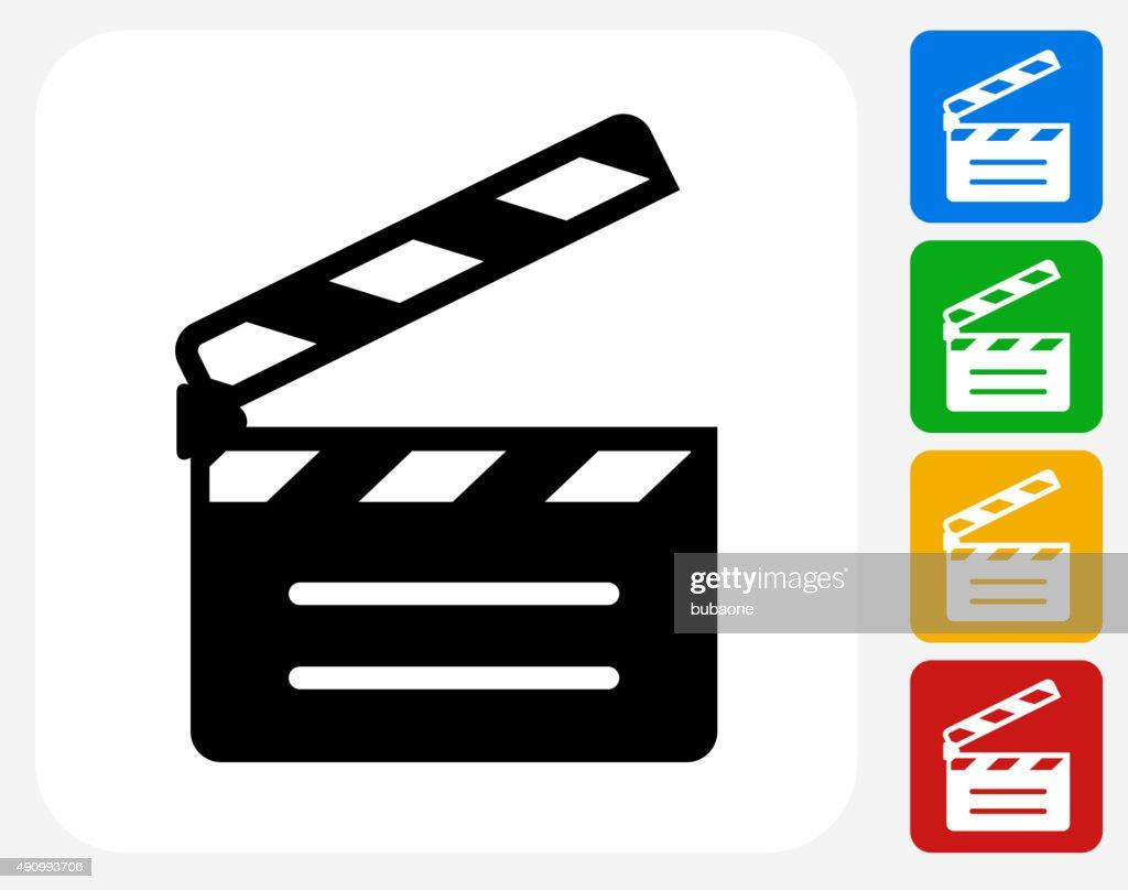Movie Clapper Icon Flat Graphic Design
