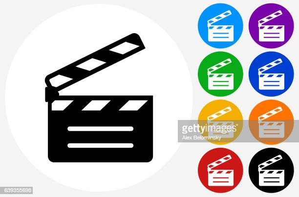 ilustraciones, imágenes clip art, dibujos animados e iconos de stock de movie clapper icon on flat color circle buttons - claqueta de cine