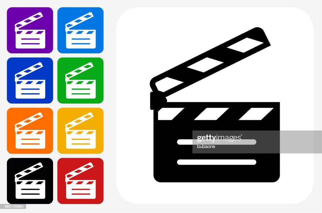 Movie Clapper Symbol Square Buttonset : Stock-Illustration