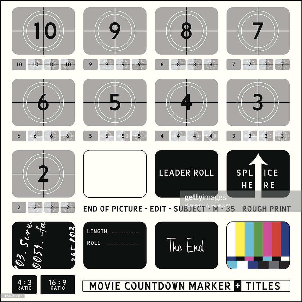 Movie Countdown Markers + Captions : Stock Illustration