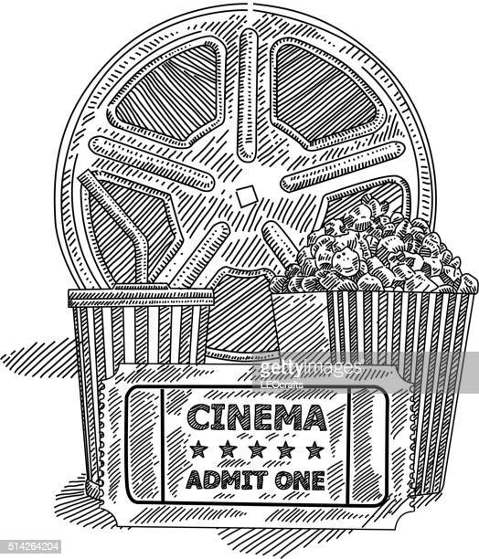 movie ticket drawingのイラスト素材と絵 getty images