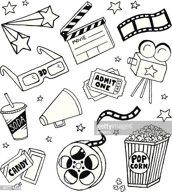 movie doodles - film industry stock illustrations