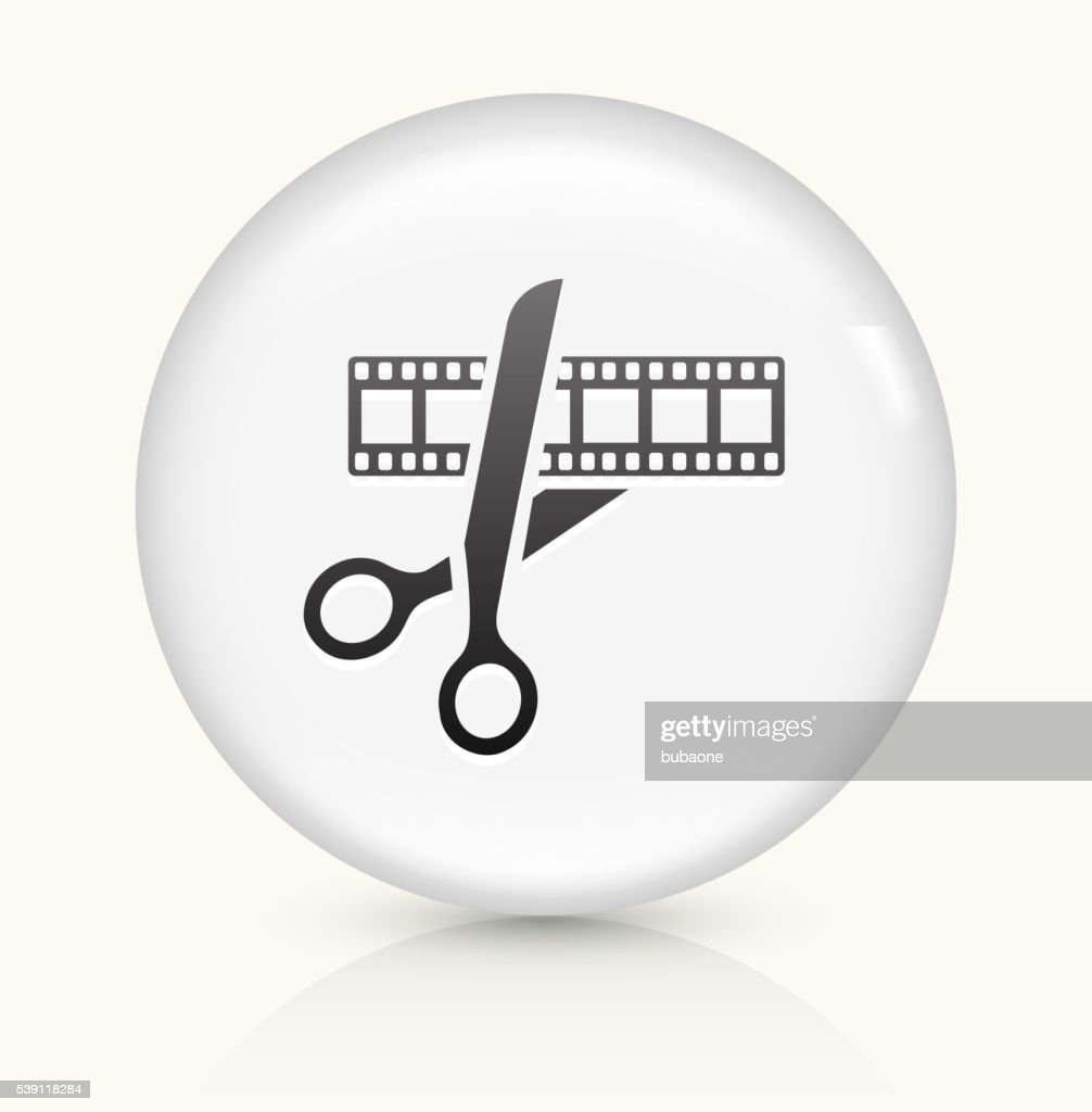 Movie Edit icon on white round vector button