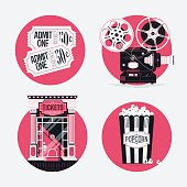 Movie entertainment round web icons set
