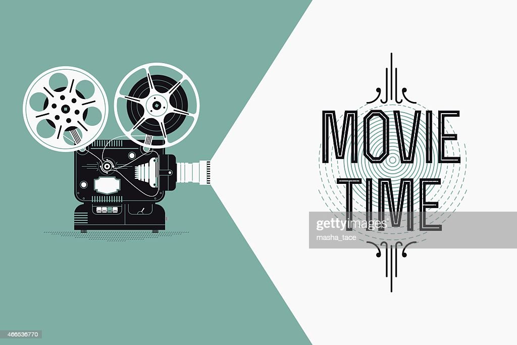 Movie entertainment simple concept design with retro film projector