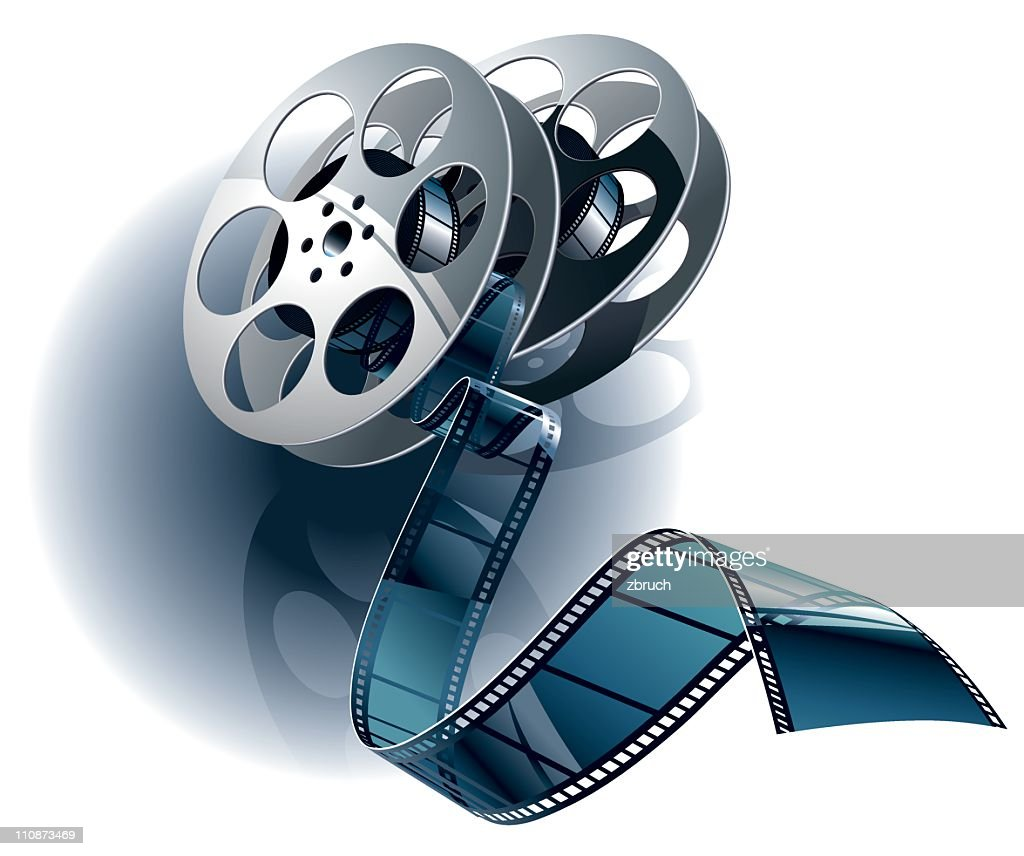 Movie film and canister : stock illustration