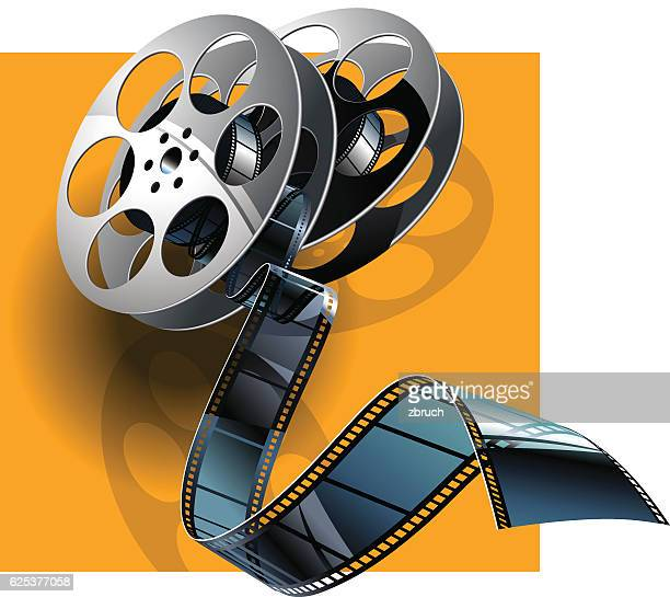 movie film and film canisters . - film industry stock illustrations
