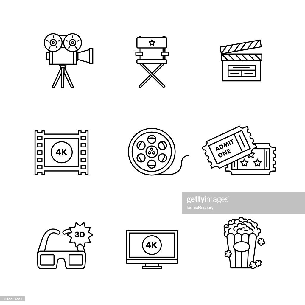 Movie, film and video icons thin line art set