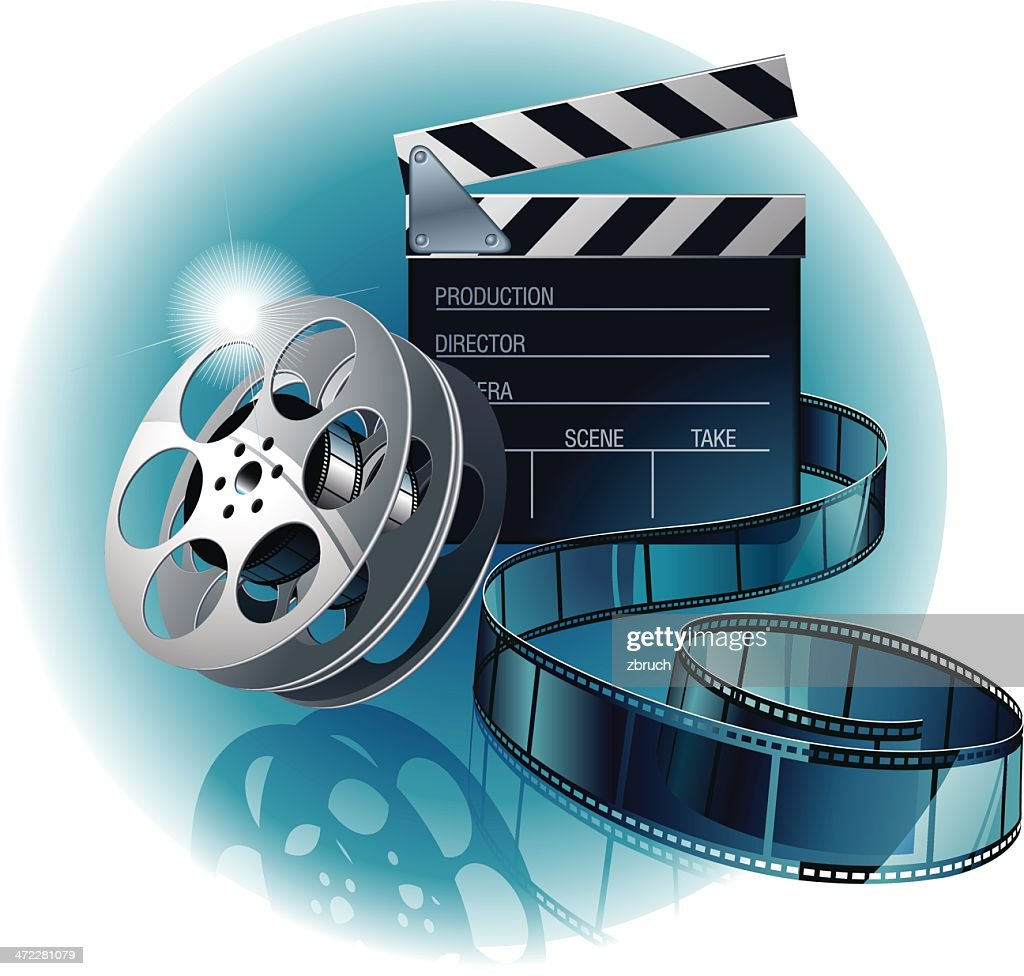 movie film with clapboard : stock illustration