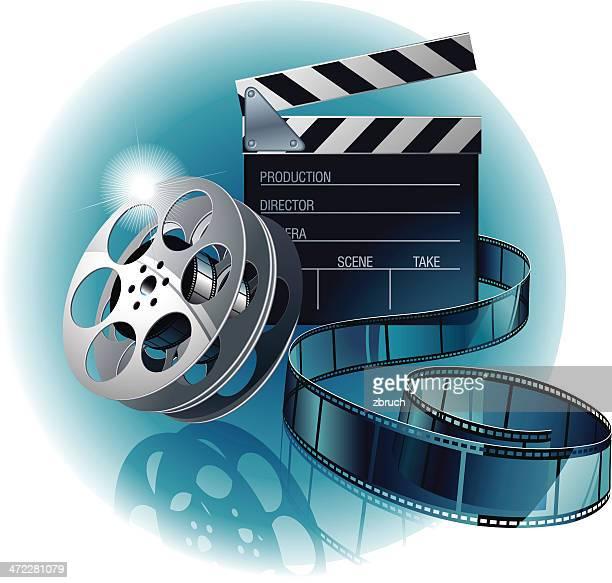 movie film with clapboard - film studio stock illustrations