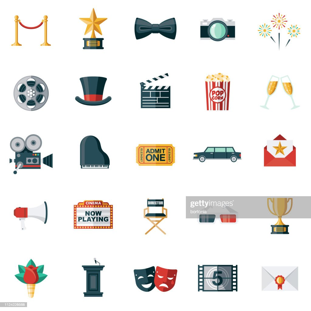 Movie Flat Design Icon Set : Stock Illustration