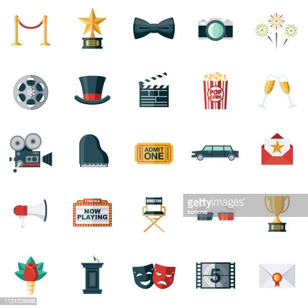 illustrazioni stock, clip art, cartoni animati e icone di tendenza di movie flat design icon set - industria cinematografica