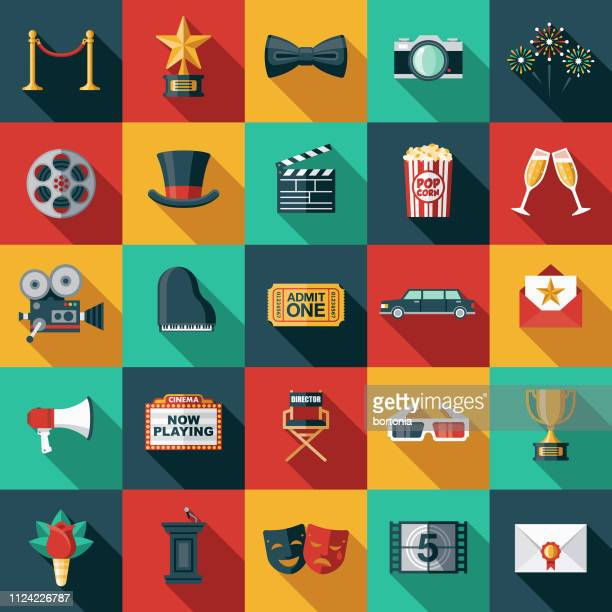 movie flat design icon set - long shadow shadow stock illustrations