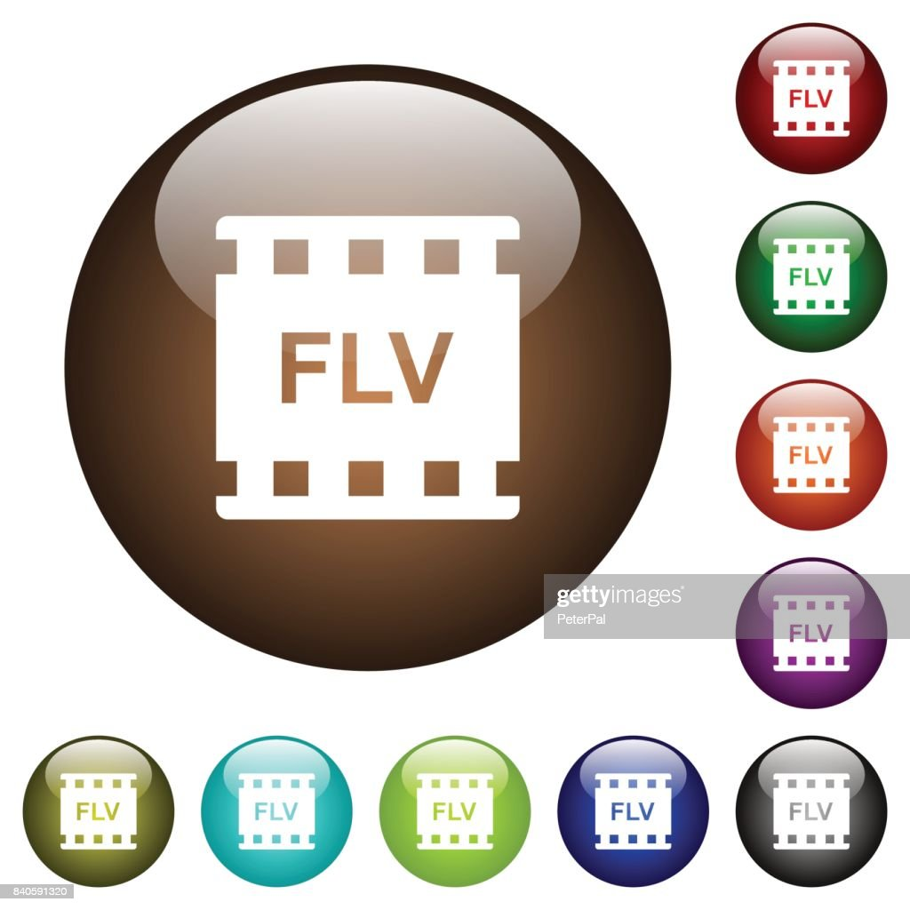 FLV movie format color glass buttons