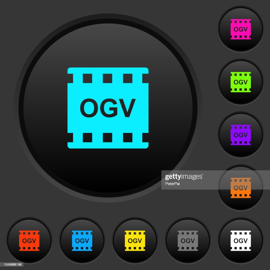 OGV movie format dark push buttons with color icons