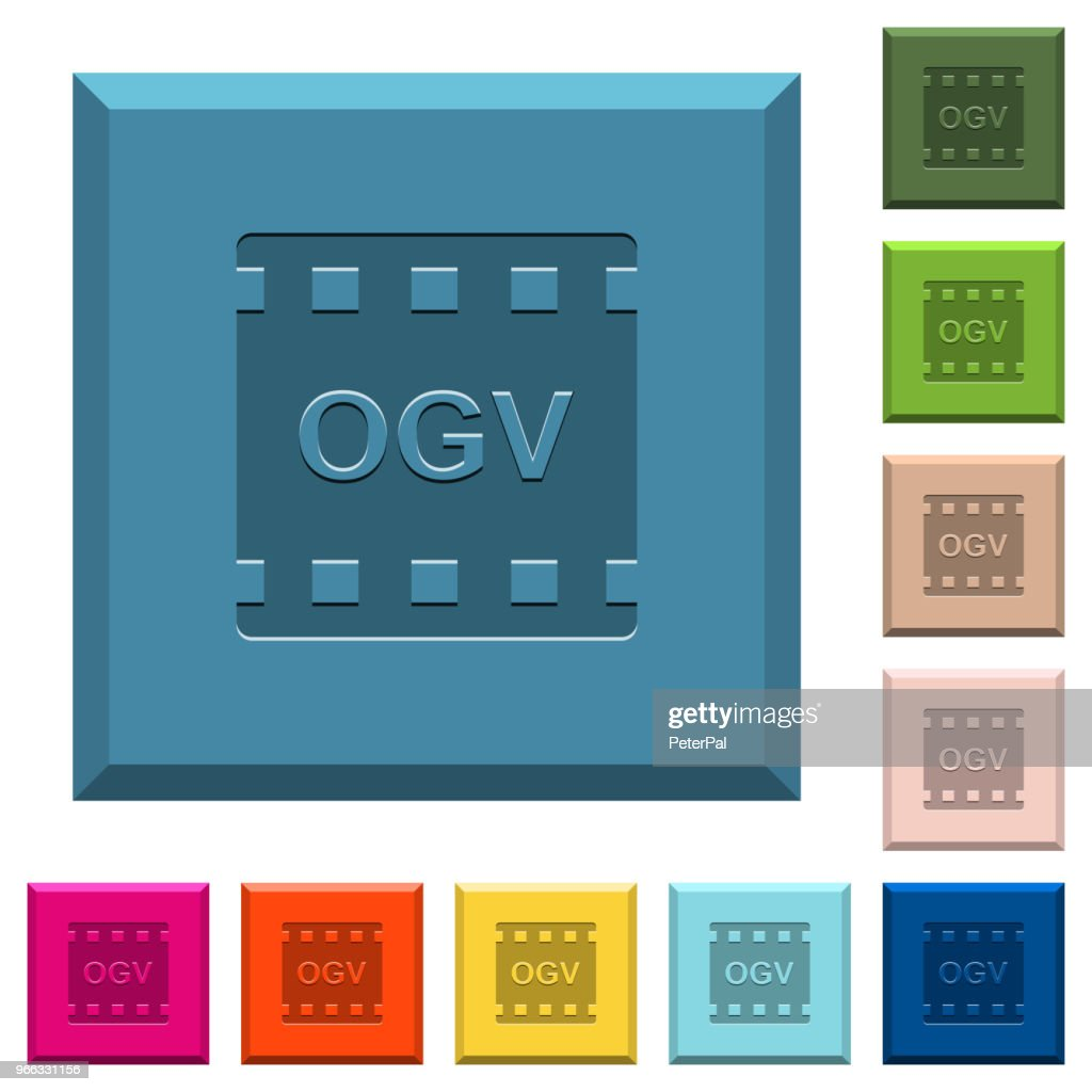 OGV movie format engraved icons on edged square buttons