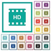 HD movie format flat color icons with quadrant frames