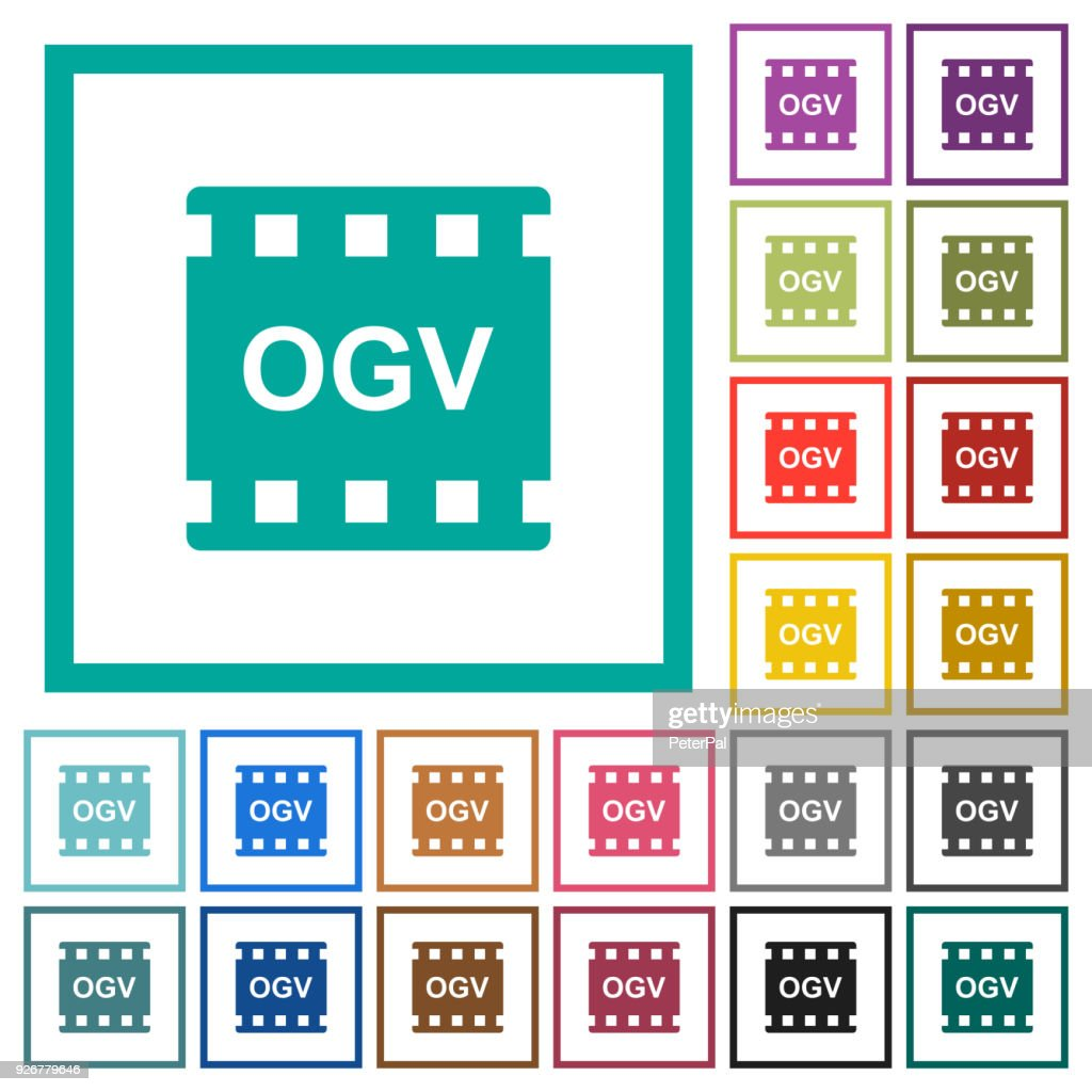 OGV movie format flat color icons with quadrant frames