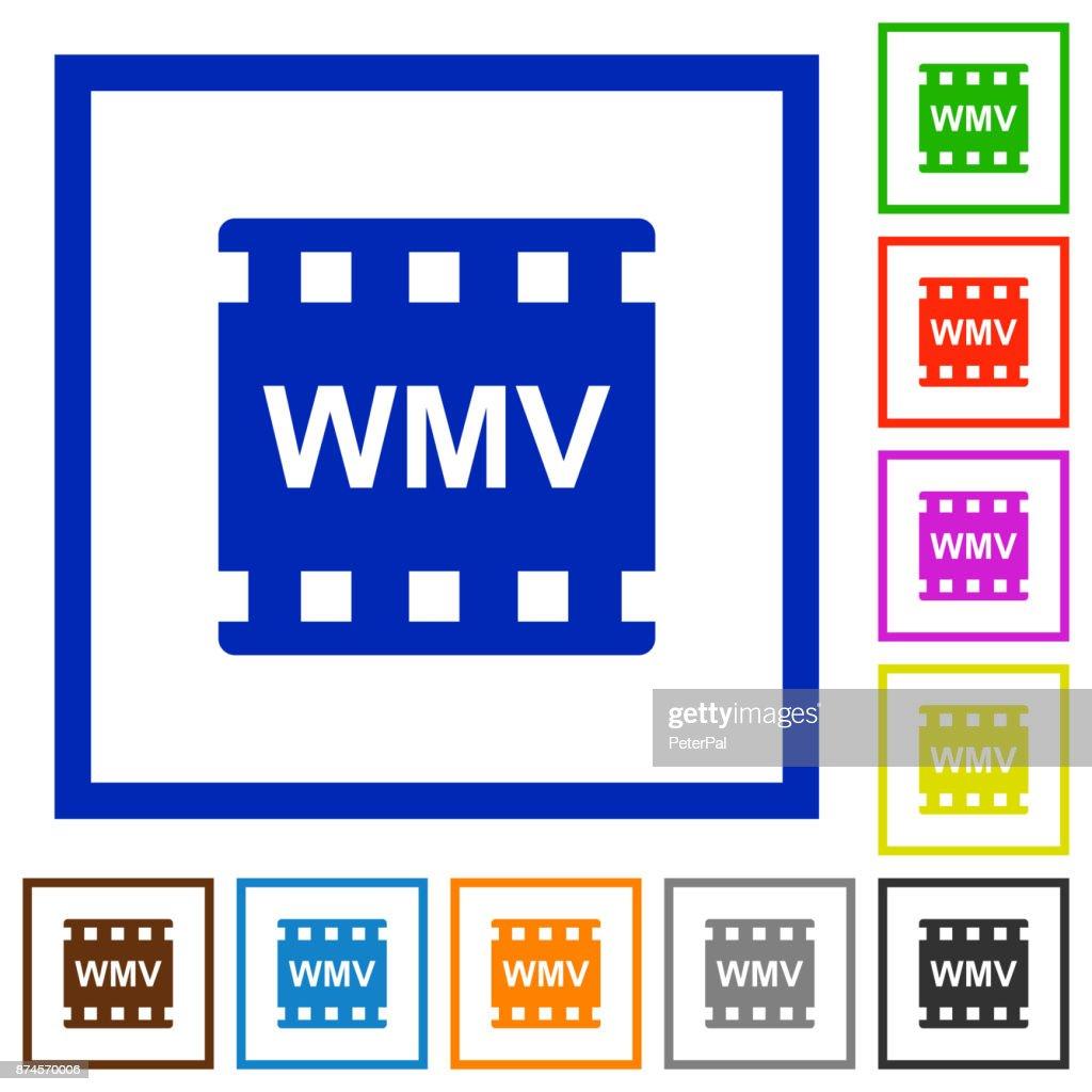 WMV movie format flat framed icons