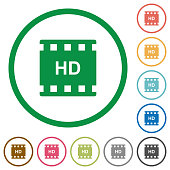 HD movie format flat icons with outlines