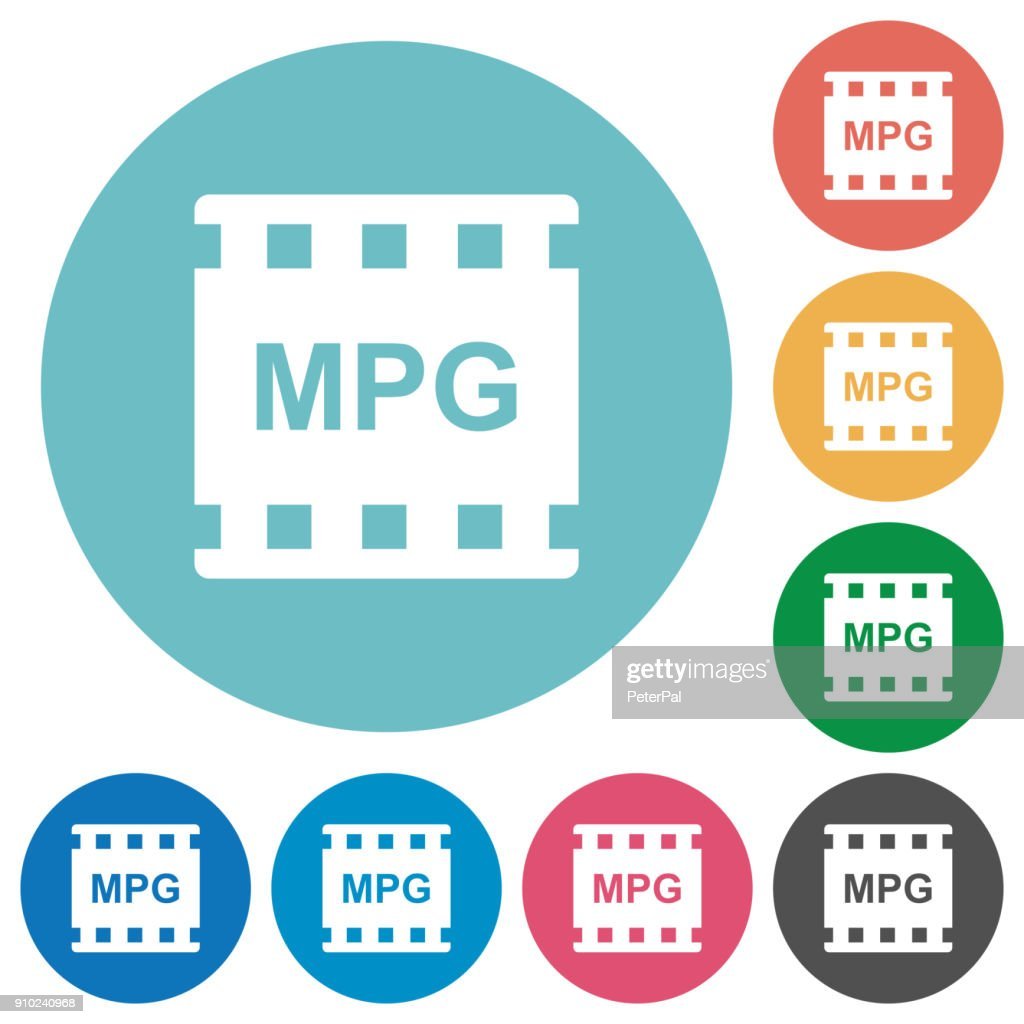 MPG movie format flat round icons