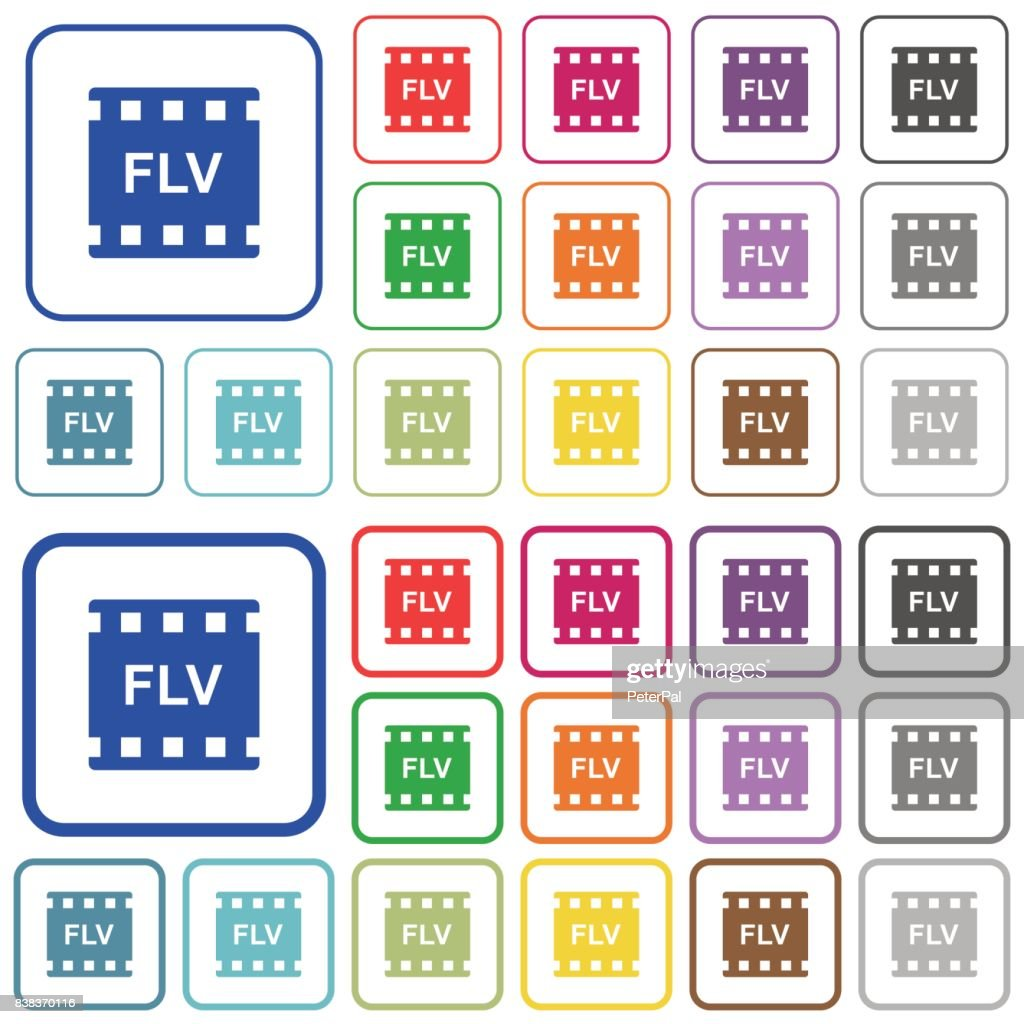 FLV movie format outlined flat color icons