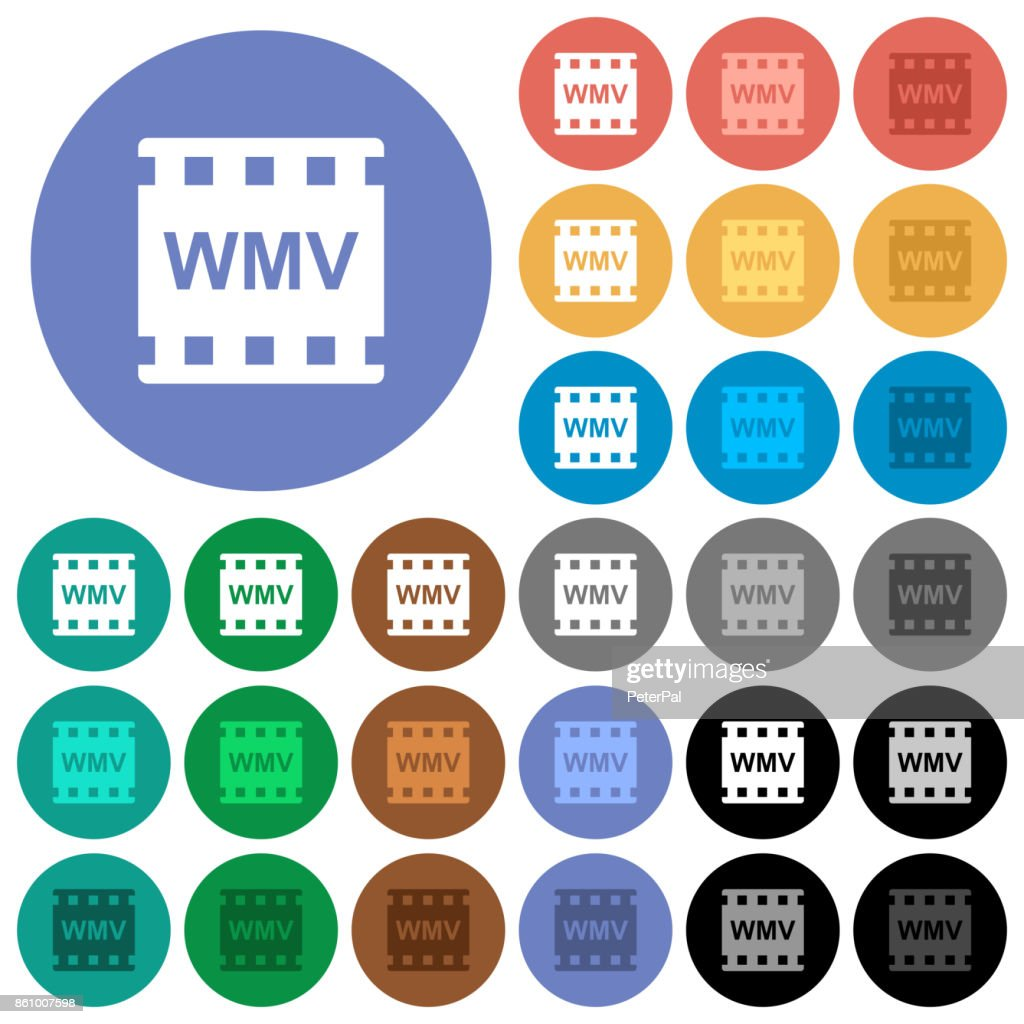 WMV movie format round flat multi colored icons