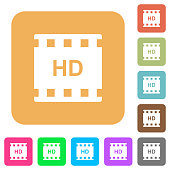 HD movie format rounded square flat icons