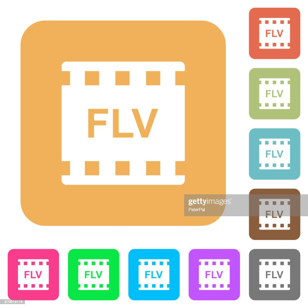 FLV movie format rounded square flat icons