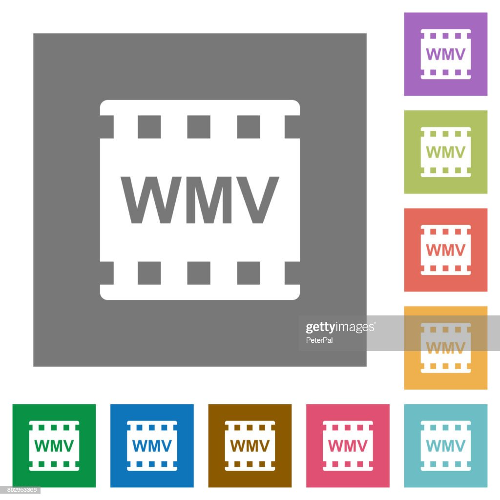WMV movie format square flat icons