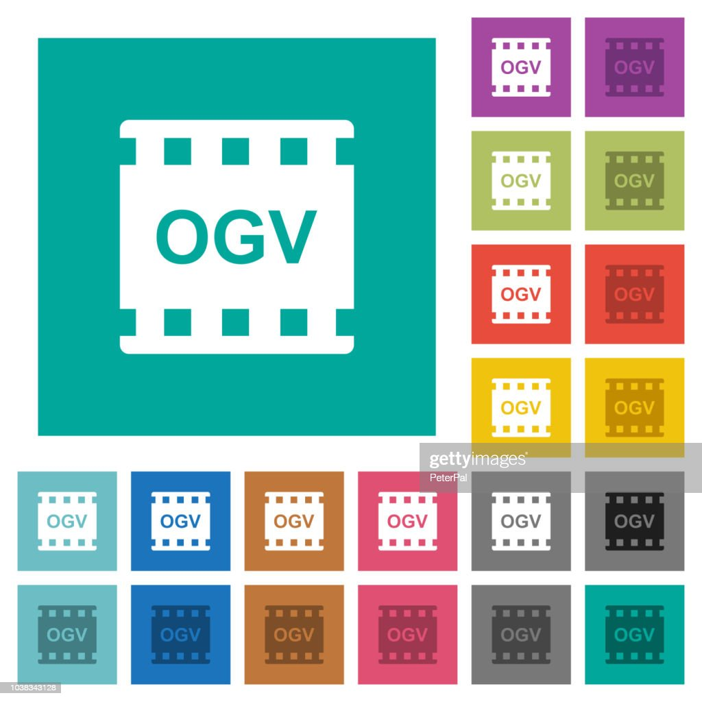 OGV movie format square flat multi colored icons
